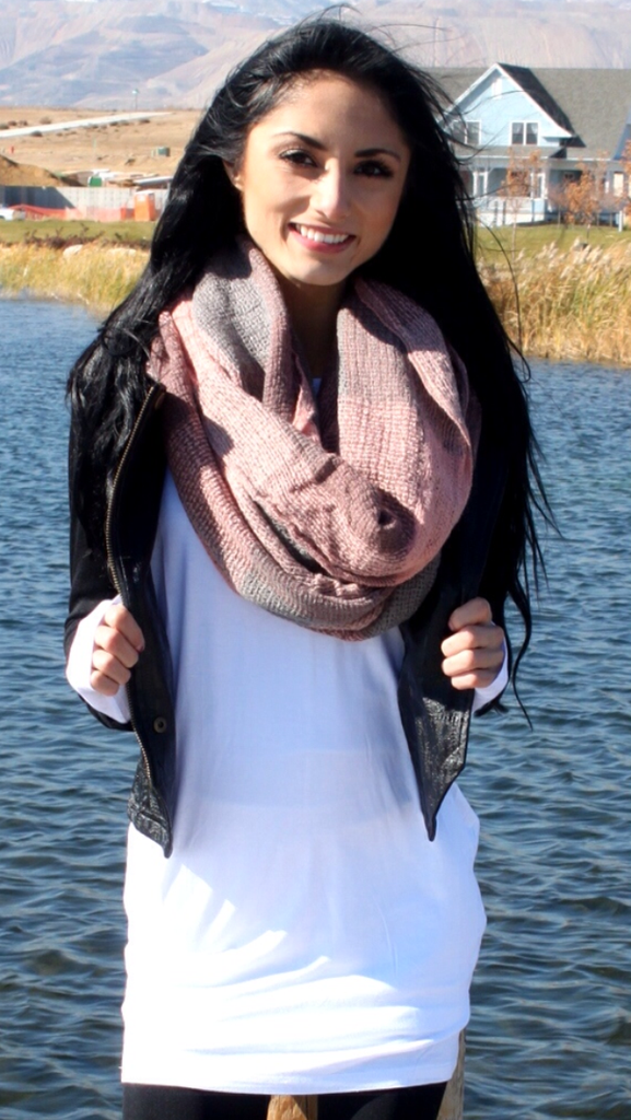 Pink Checkered Infinity Scarf