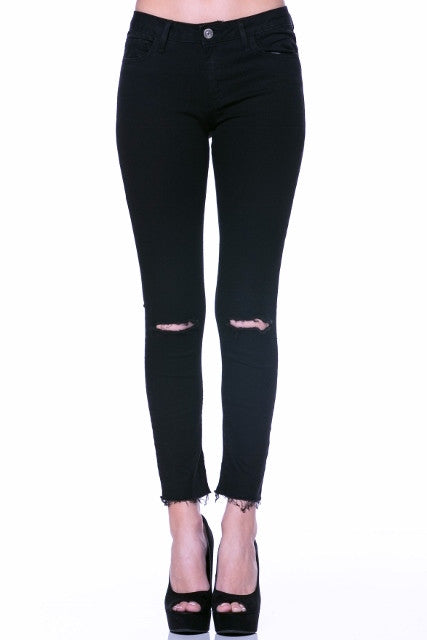 Black Knee Slit Jeans