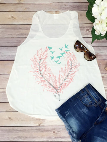 Feather Birds Love Tank