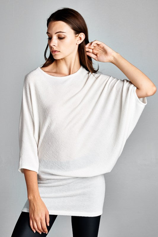 Asymmetrical Dolman Top (Charcoal and Ivory)