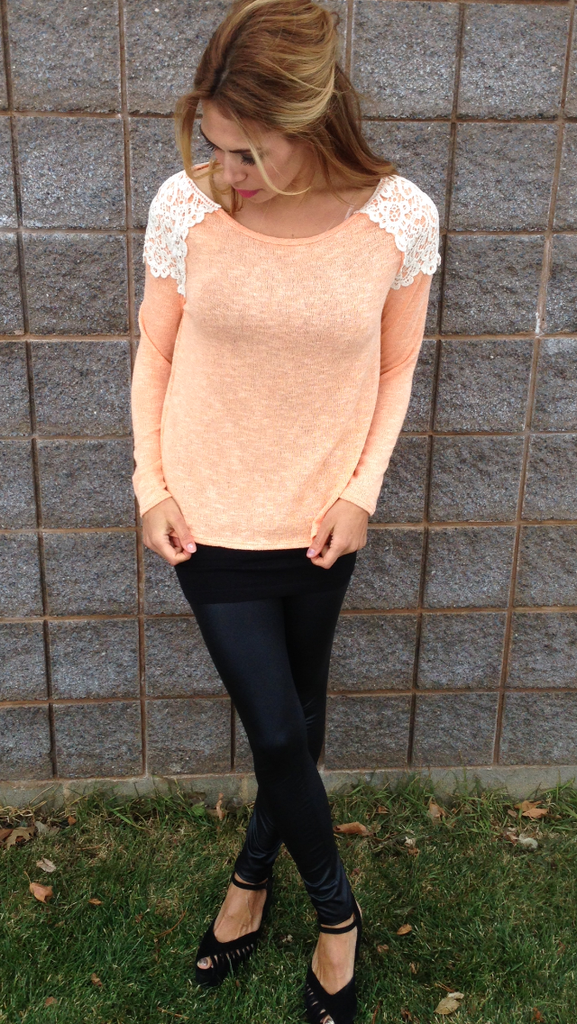 Peach Top with Lace Accent