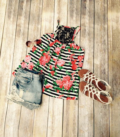 Stripes and Roses Tank Top