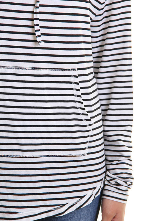Black and White Stripe Hoodie