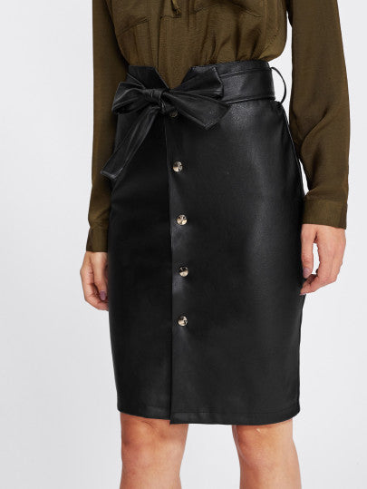 Button Up Faux Leather  Skirt