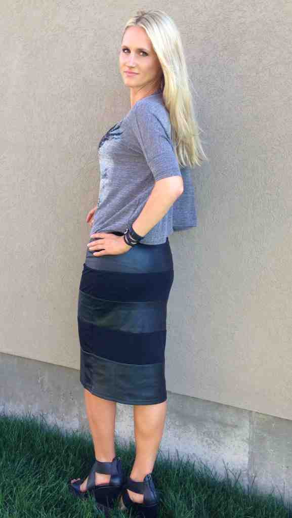 Leather Stripe Skirt