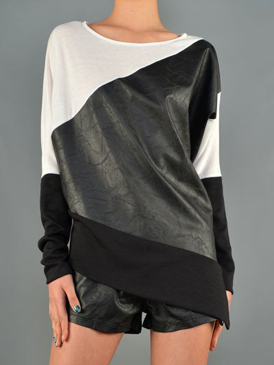 Color Block Leatherette Top