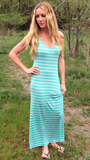 Maxi Dress (Mint and White)