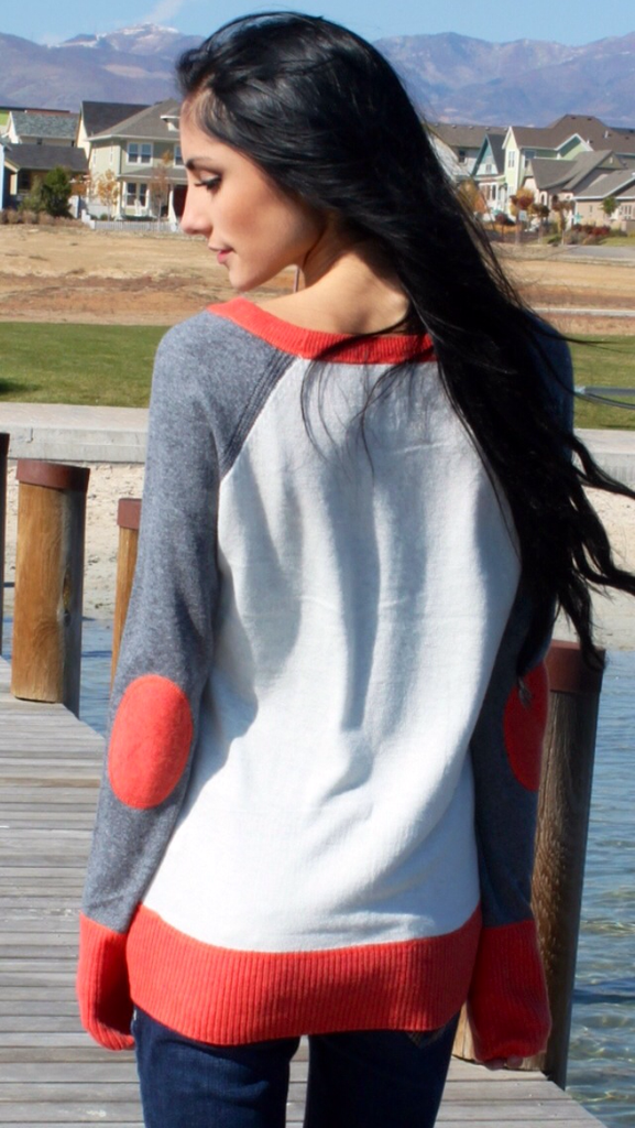 Peach and Gray Elbow Patch Sweater