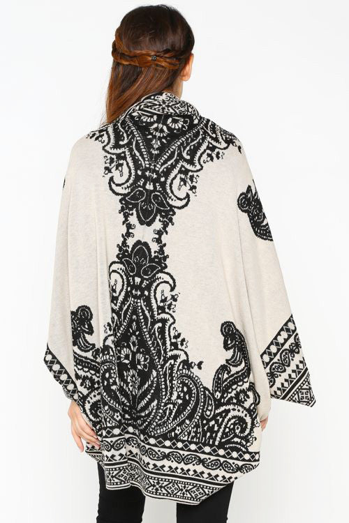 Black and Cream Open Sweater