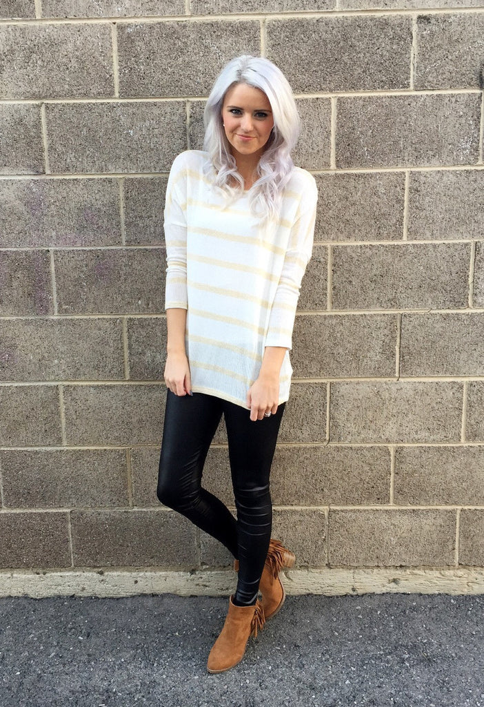 Gold Striped Dolman Top