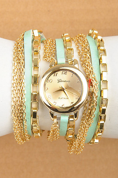 Gold Chain Wrap Watch (mint or white)