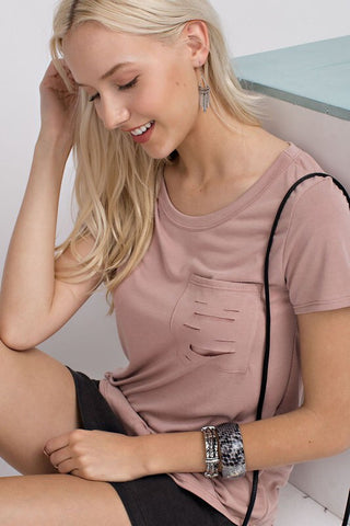Blush Destroyed Pocket Tee