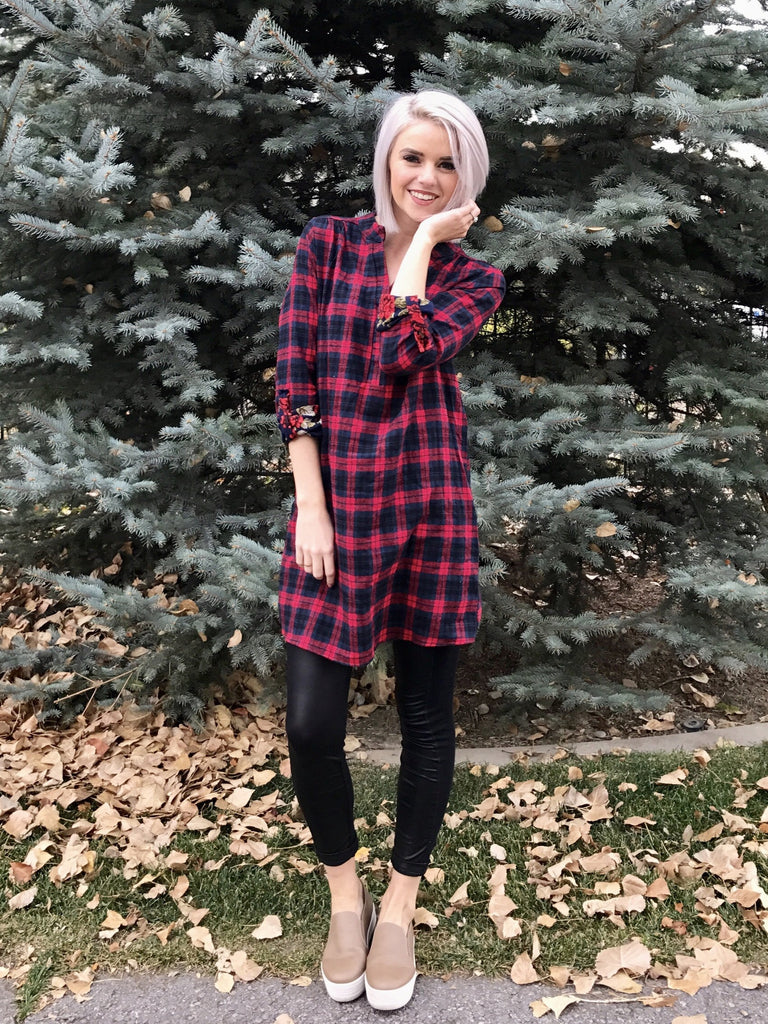 Plaid Tunic with Floral Cuff