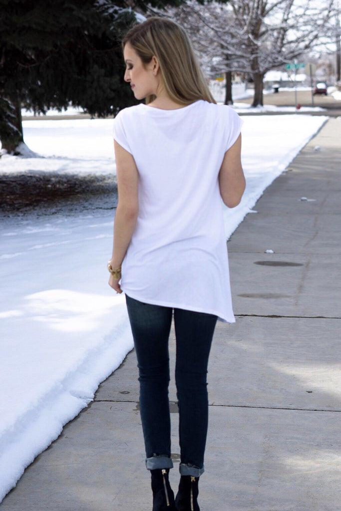 Drape Front Shirt (White and Navy)