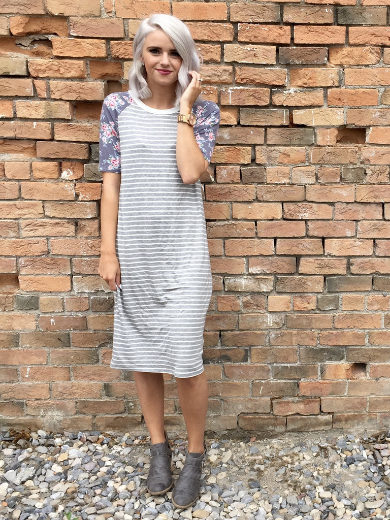 Gray Stripe and Floral Dress