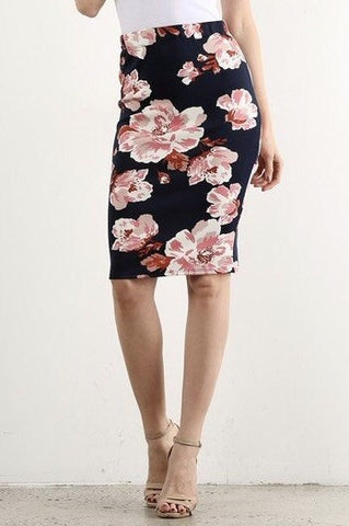 Navy Floral Skirt