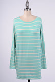 Striped Mint Dolman Top