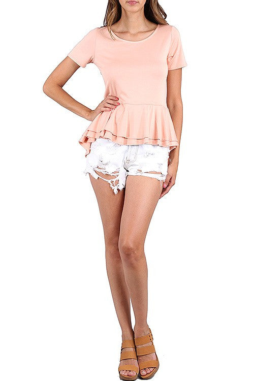 Peplum High Low Top