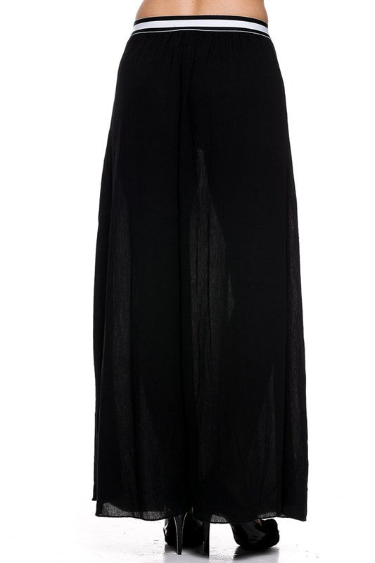 Black Pleated Maxi Skirt