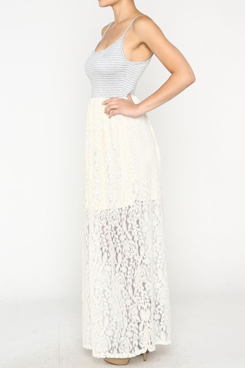 Striped and Lace Maxi Dress