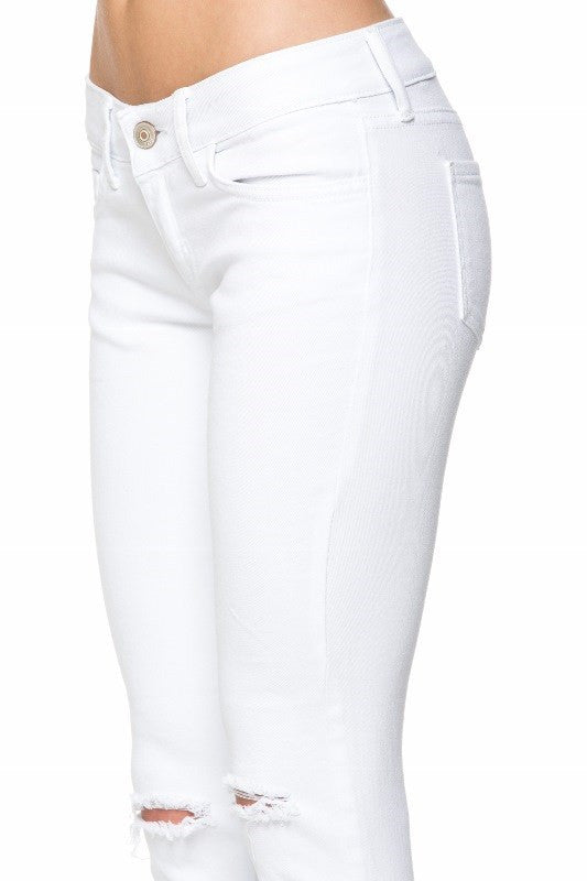 White Knee Slit Denim Jeans
