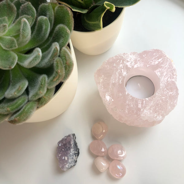 Large Rose Quartz Tea light holder 🕯  💗