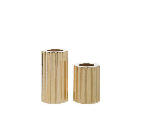 Zakkia - Ribb Brass Candle Holder set - The Minimalist Store