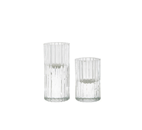 Zakkia - Ribb Glass Candle Holder set - The Minimalist Store