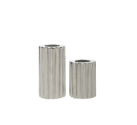 Zakkia - Ribb Silver Candle Holder set - The Minimalist Store