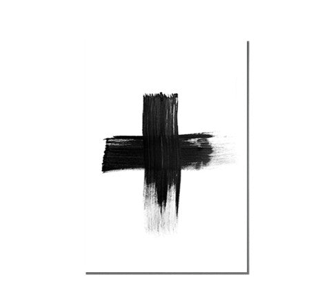 painted black cross / art print