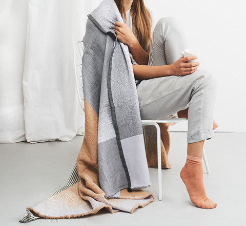 Mae Engelgeer - Mono Wool Blanket in Beige - The Minimalist Store