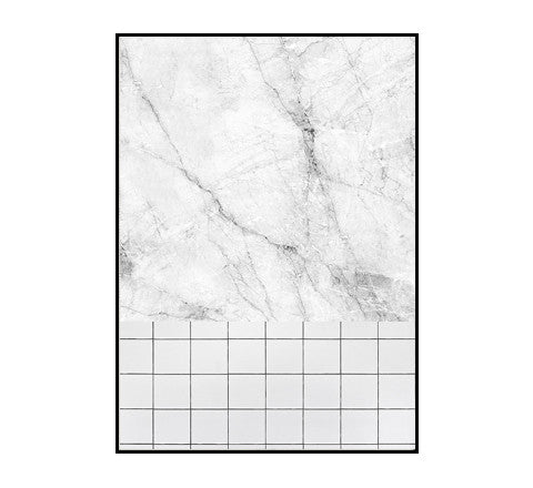 marble and white tile print / two sizes