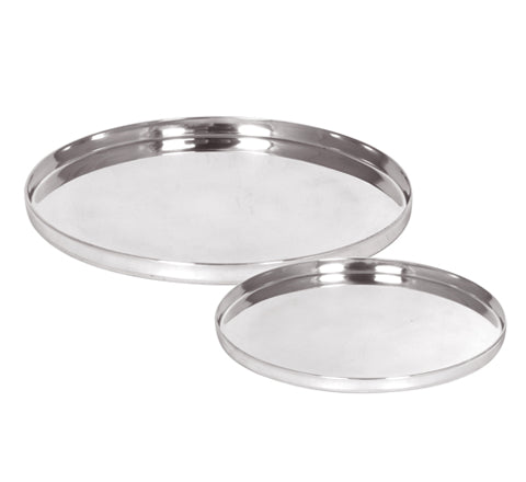 Zakkia - Round Silver Tray set of 2 - The Minimalist Store