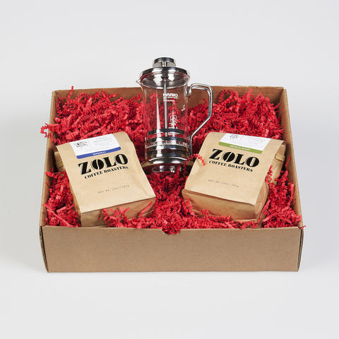 Zolo Gift Box - 2 Bags of Zolo Coffee & 1 Hario 2 cup French Press