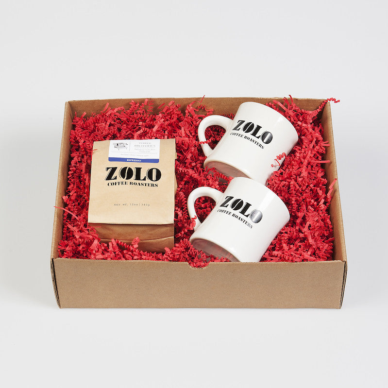 Zolo Gift Box - 1 bag of Zolo Coffee and 2 Zolo Diner Mugs