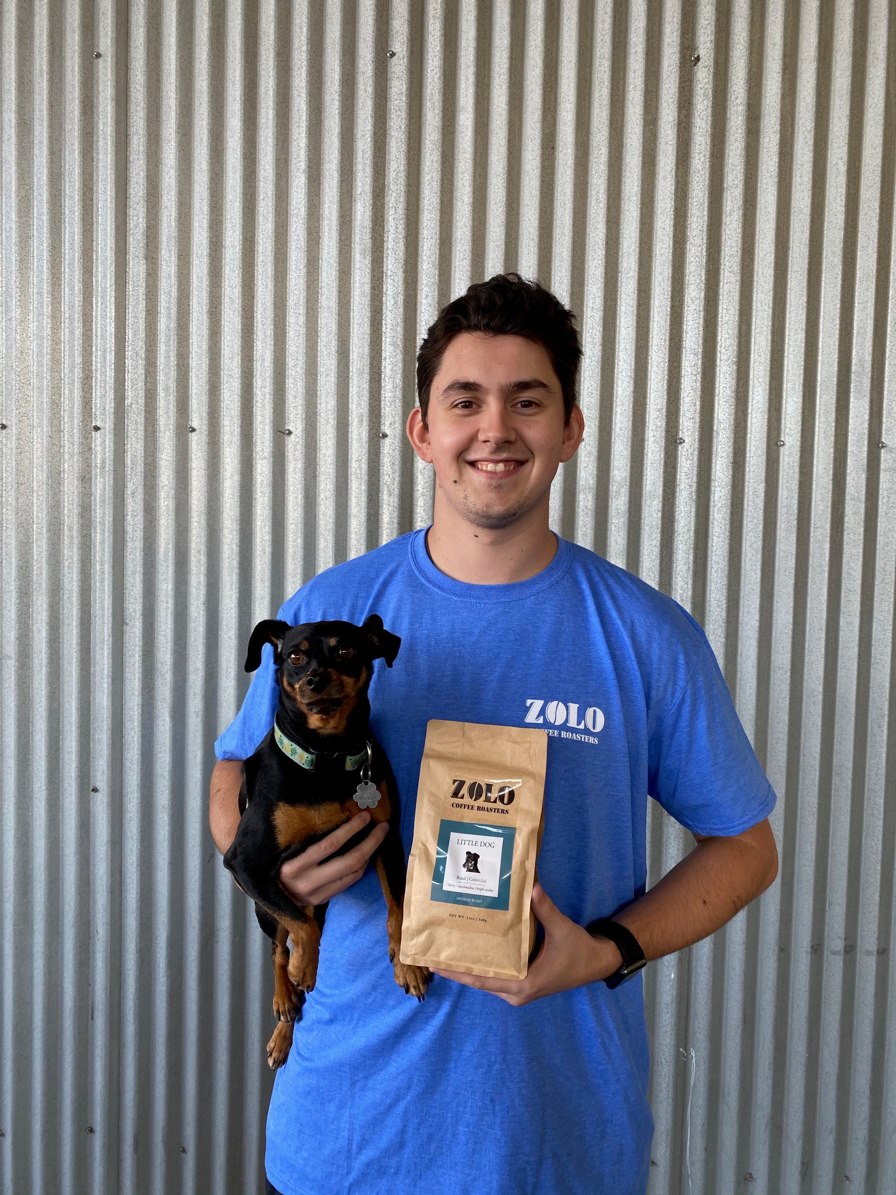 Blue Zolo T-Shirt and Bag of Coffee