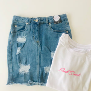 White Cropped 'Pink Saint' Slogan Tee