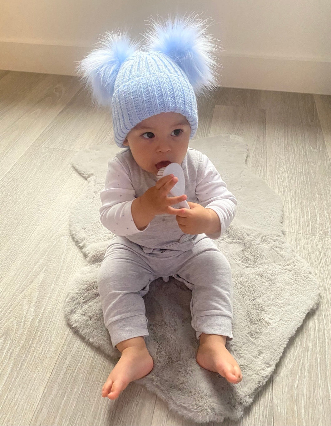 Romeo Sky Blue Double Pom Pom Hat