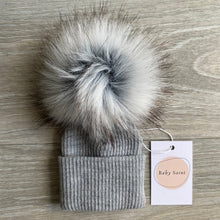 Load image into Gallery viewer, Charlie Grey Pom Pom Hat
