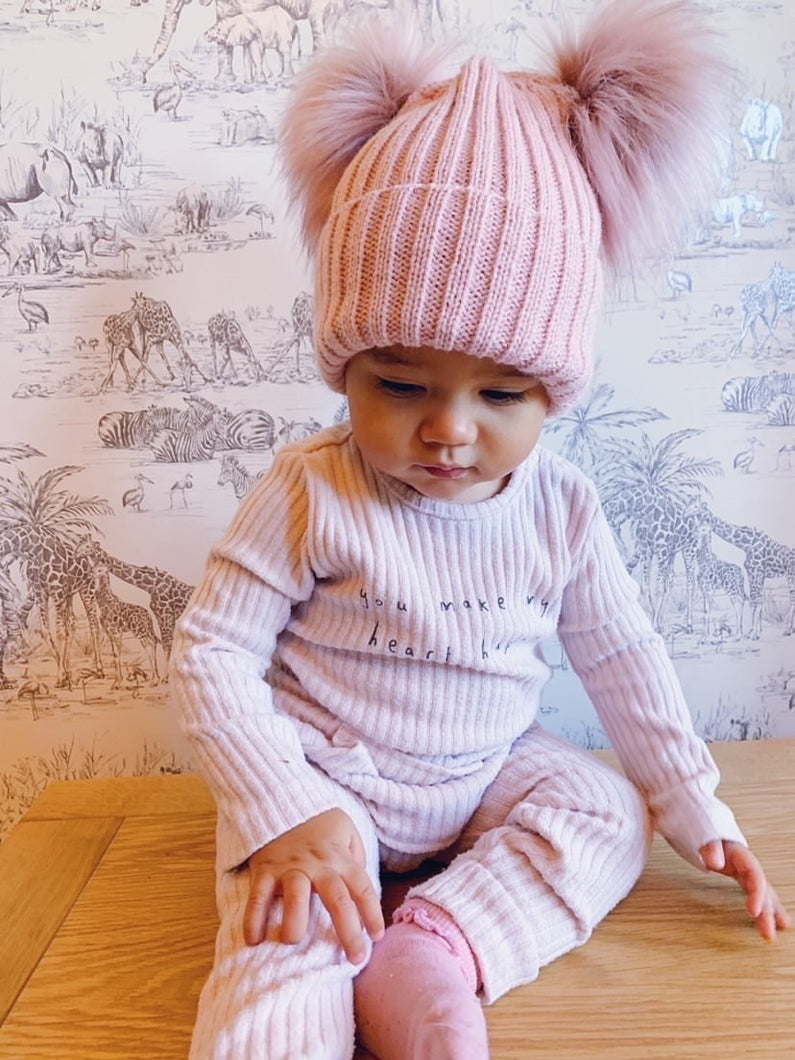Blair Rose Gold Double Pom Pom Hat