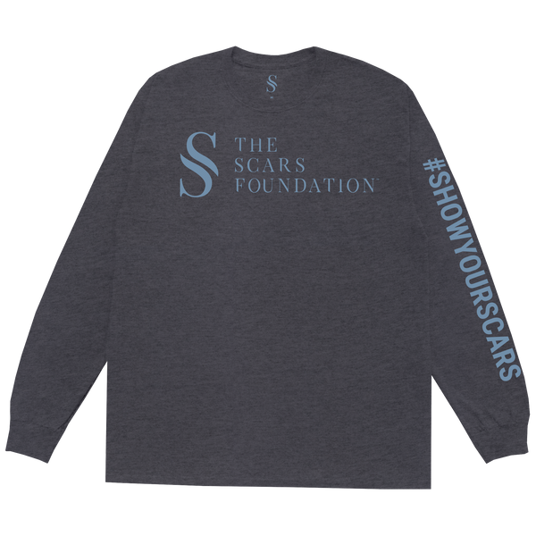 Show Your Scars Logo Heather Charcoal LS Tee