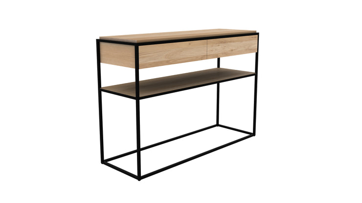 ETHNICRAFT OAK MONOLIT CONSOLE - The Banyan Tree Furniture & Homewares