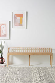 ETHNICRAFT OAK SPINDLE BENCH - The Banyan Tree Furniture & Homewares