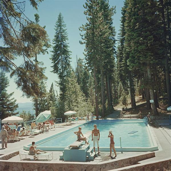 POOL AT LAKE TAHOE ·  SLIM AARONS FRAMED PRINT