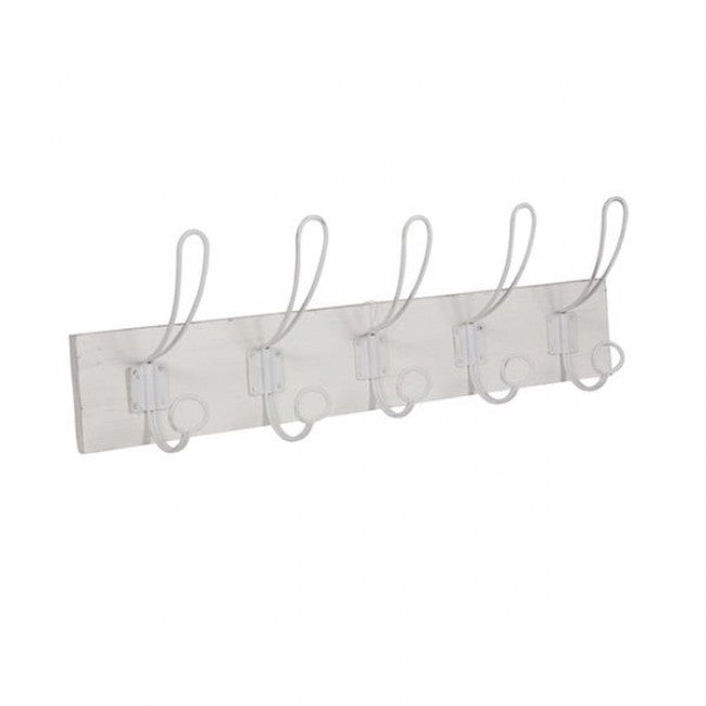 COAT RACK WHITE 5 HOOKS