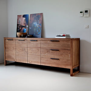 TEAK LIGHT FRAME SIDEBOARD 3 DOOR, 3 DRAWER