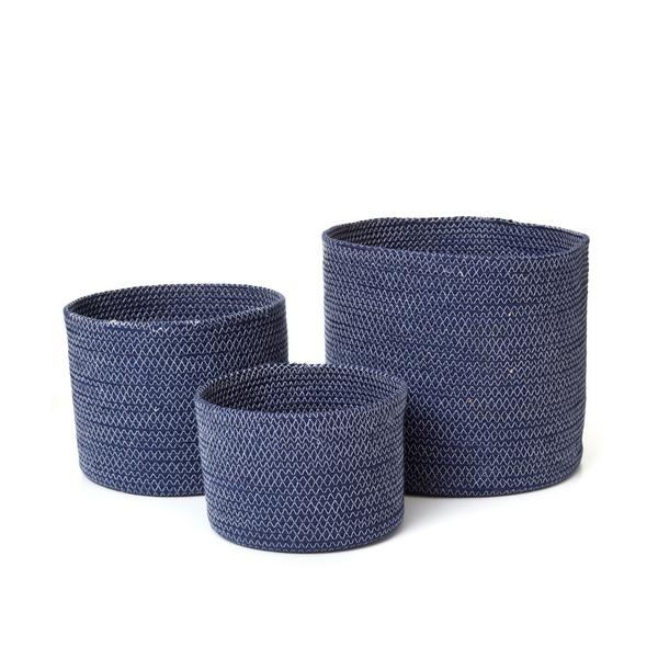 NAVY STITCH CYLINDER BASKET
