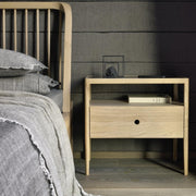 ETHNICRAFT OAK SPINDLE BEDSIDE TABLE - The Banyan Tree Furniture & Homewares