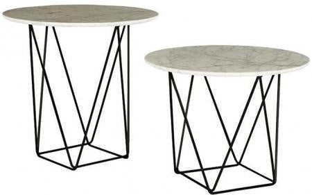 GLOBEWEST COMO MARBLE SIDE TABLES