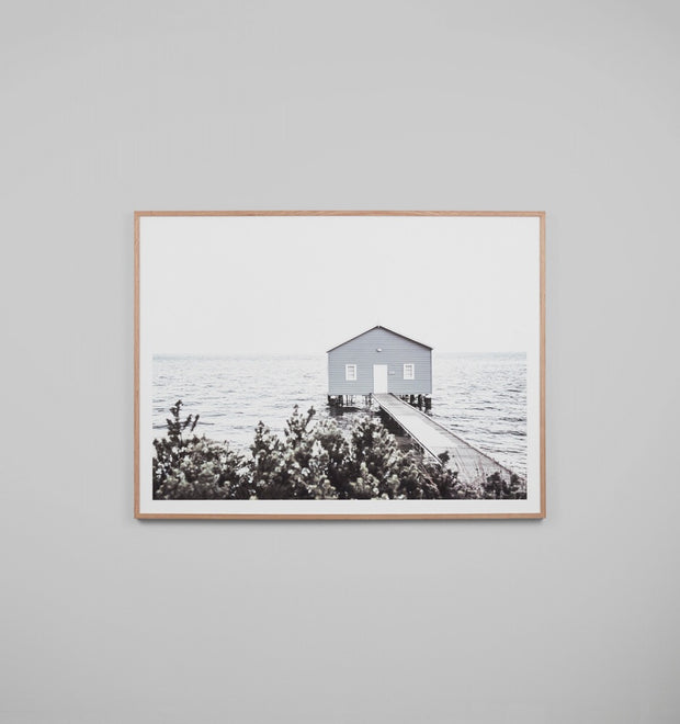 WINTER BOATHOUSE · FRAMED PRINT